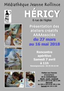 Présentation des Ateliers créatifs AAAAssociés @ Médiathèque Jeanne Rollince | Héricy | Île-de-France | France