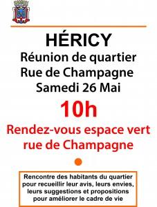 Réunion de quartier rue de champagne @ espace vert  | Héricy | Île-de-France | France