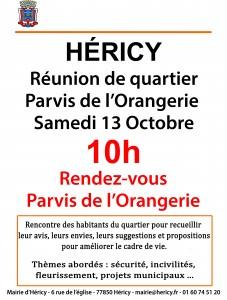 Réunion de quartier 13 octobre 2018 @ Parvis de l'Orangerie