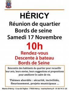 Réunion de quartier 17 novembre 2018 @ Descente à bateau    Héricy   Île-de-France   France