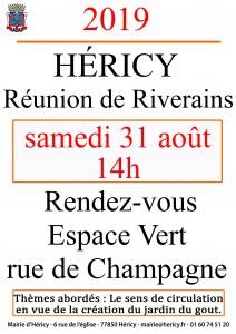 Réunion de Riverains (rue de Champagne) @ Rue de Champagne