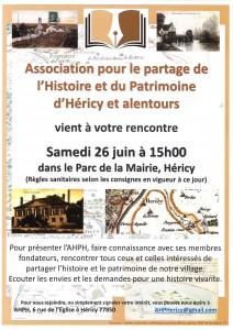 Rencontre association pour le partage de l'Histoire et du Patrimoine d'Héricy et alentours @ Parc de la mairie